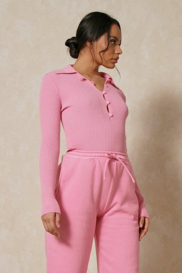 Candy pink Ribbed Knit Collared Long Sleeve Top