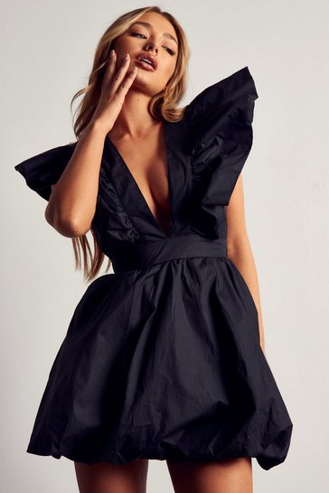 Black Premium Frill Shoulder Puff Dress