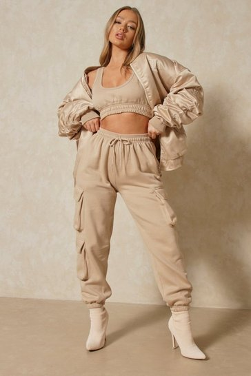 Stone Combat Crop and Jogger Co-ord Set