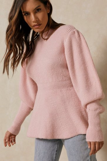 Candy pink Peplum Knitted Balloon Sleeve Jumper