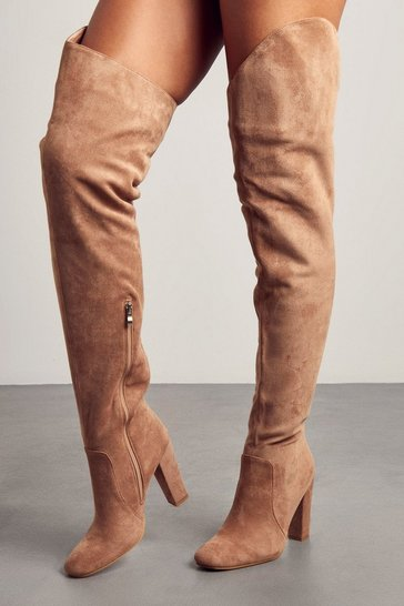 Camel Faux Suede Extreme Thigh High Boots