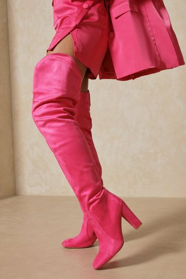 Pink Faux Suede Extreme Thigh High Boots