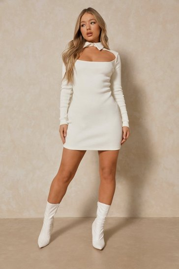 Cream Rib Collared Cut Out Mini Dress
