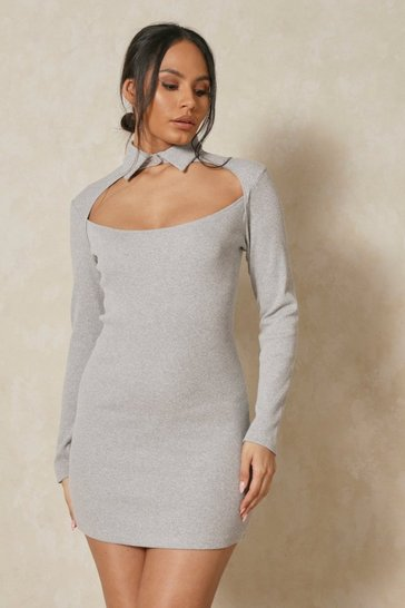 Grey Rib Collared Cut Out Mini Dress