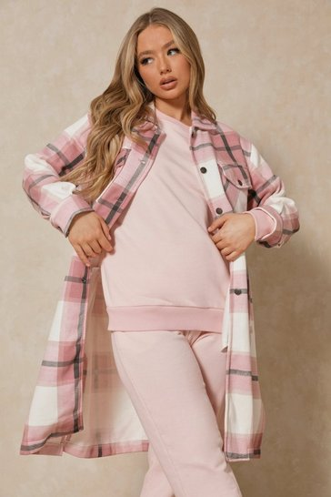 Baby pink Longline Checked Pocket Detail Shacket