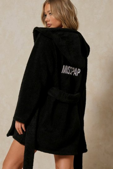 Black Premium Soft Misspap Embroidered Robe