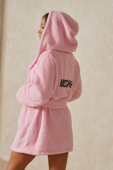 Pink Premium Soft Misspap Embroidered Robe