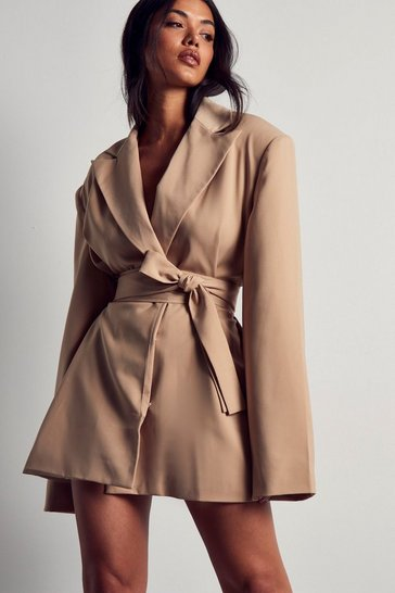 Sand Tailored Oversized Belted Blazer Dress
