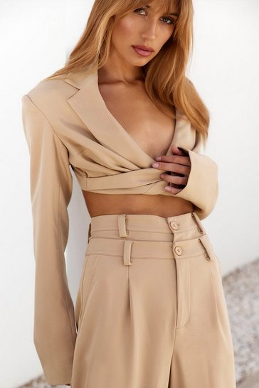 Sand Tailored Draped Cropped Blazer