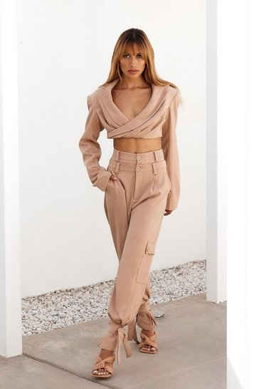 Sand Tailored Tie Hem Double Waistband Trousers