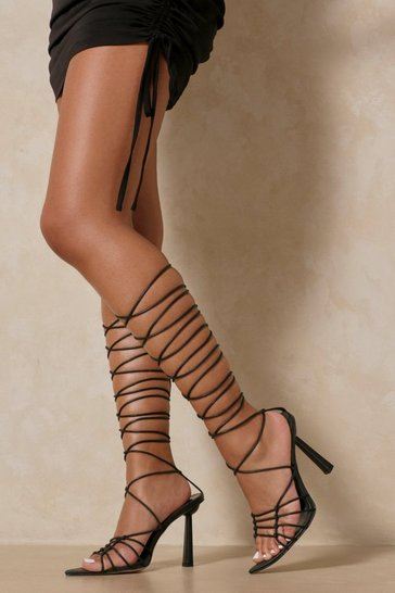 Black Lace Up Caged Strappy Heels