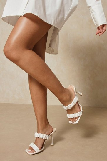 White Leather Look Ruched Heeled Mules