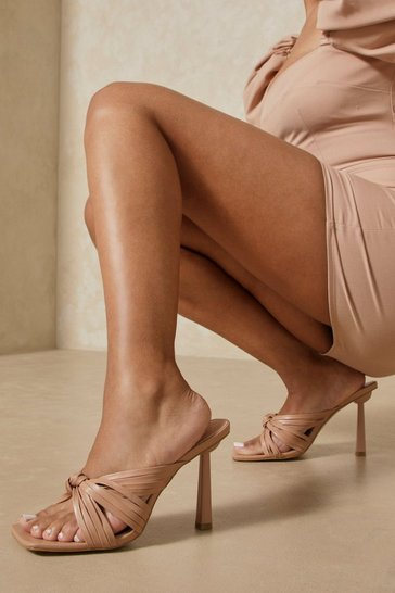 Nude Leather Look Knot Detail Mules