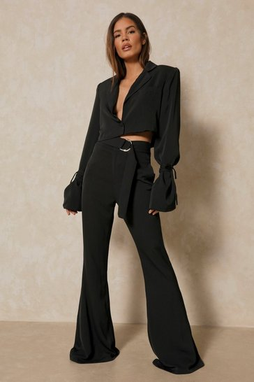 Black Tailored Belted Cut Out Tailored Trouser