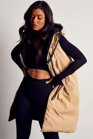 Camel Reversible Longline Sleeveless Padded Gilet Jacket