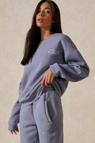 Blue Amour Oversized Embroidered Sweatshirt
