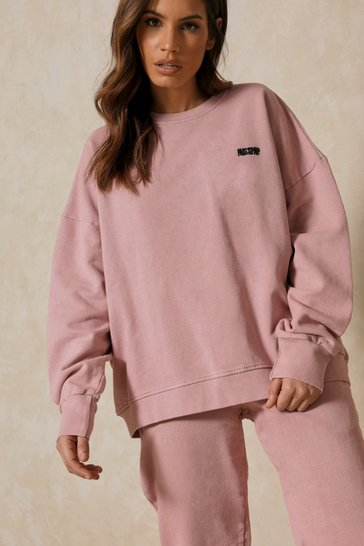 Blush Misspap Branded Acid Wash Sweatshirt