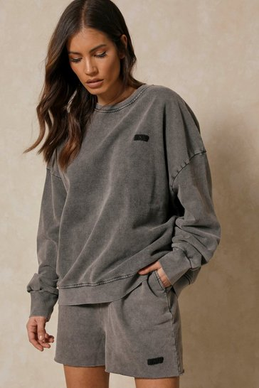 Grey Misspap Branded Acid Wash Sweatshirt