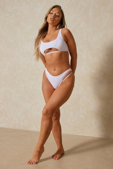White Cut Out Detail Strappy Bikini Set