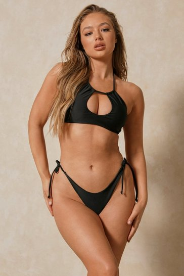Black Halter Neck Cut Out Bikini Set