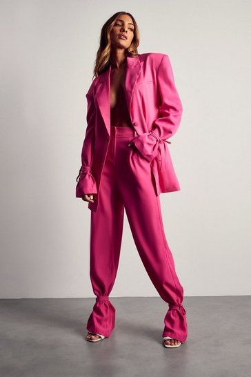 Fuchsia Tailored Tie Hem Trousers