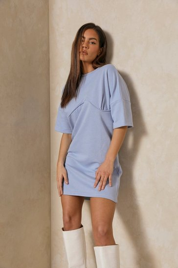 Pale blue Underboob Seam Detail T Shirt Dress