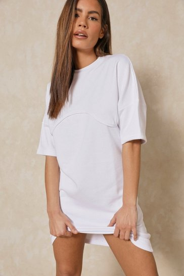 White Underboob Seam Detail T Shirt Dress