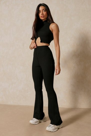 Black Raw Hem Sleeveless Trouser Co-ord