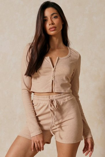 Camel Zip Front Top Shorts Co-ord