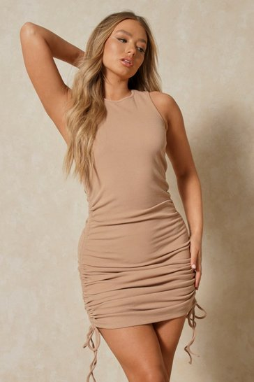 Camel Misspap Label Brushed Rib Racer Ruched Dress