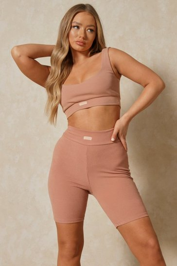Blush Misspap Label Soft Rib Ruched Cycling Short
