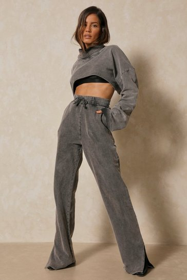 Grey Acid Wash Split Hem Wide Leg Jogger