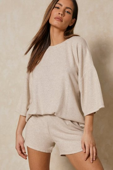 Stone Brushed Knit Lettuce Seam Shorts Pj Set