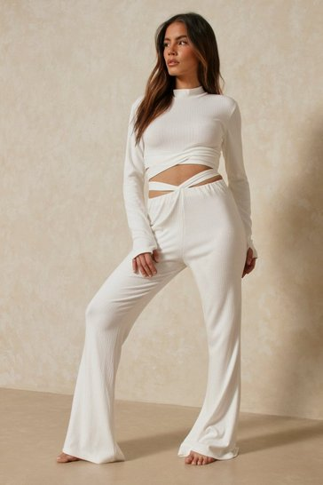 White Premium Rib Cut Out Detail Co-ord