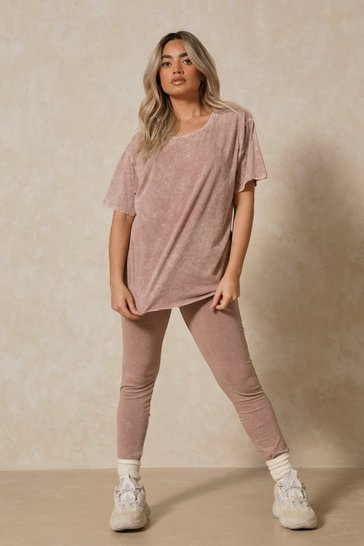 Taupe Acid Wash Leggings