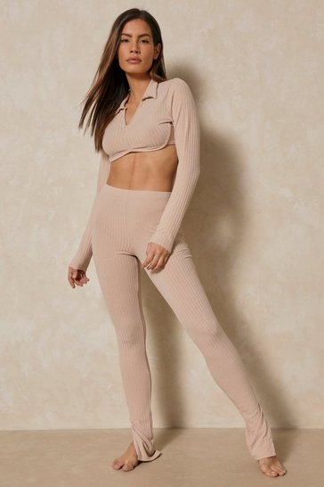 Camel Collared Underboob Top Legging Co-ord