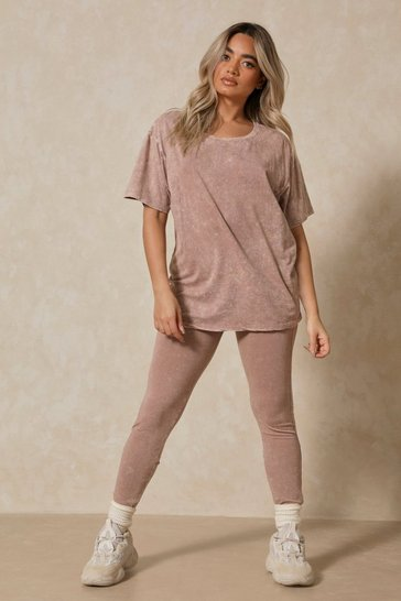 Taupe Acid Wash Oversized T-shirt