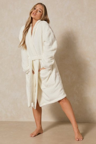 Cream Premium Oversized Longline Dressing Gown