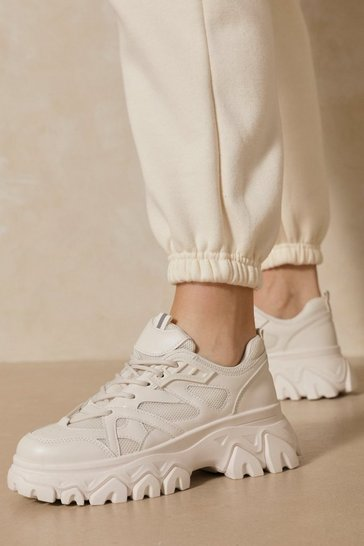 Beige Cleated Chunky Sole Sneakers