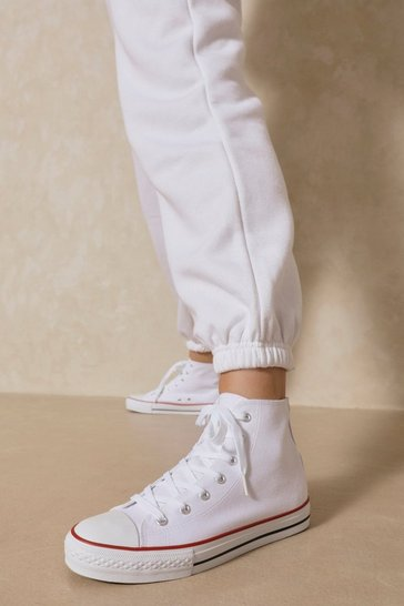 White Canvas Lace Up Sneakers