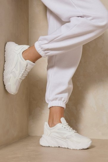 White Chunky Sole Panelled Sneakers