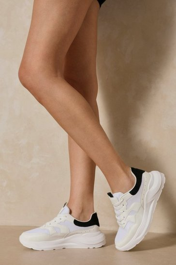 Black Chunky Contrast Detail Sneakers