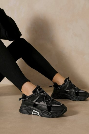 Black Contrast Lace Up Sneakers