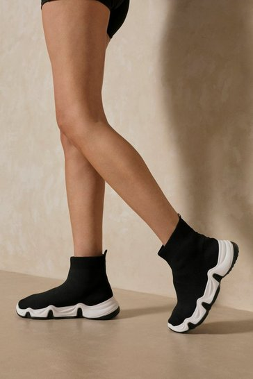 Black Knitted High Top Sneakers