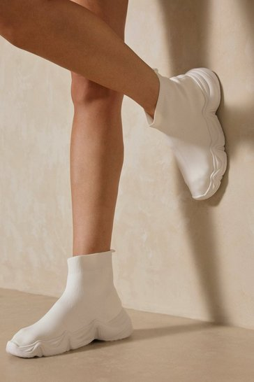 White Knitted High Top Sneakers