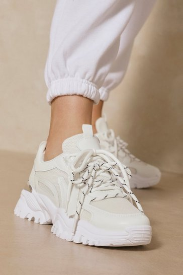 White Chunky Tab Detail Trainers