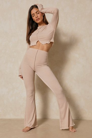 Soft beige Ribbed Seam Detail Wide Leg Trouser Co-ord