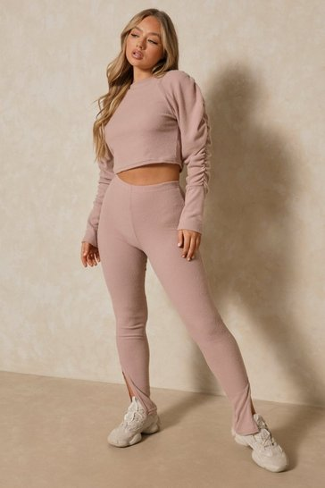Mauve Brushed Rib Puff Sleeve Wide Leg Two-Piece