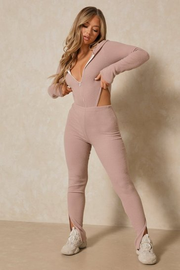 Mauve Brushed Rib Hooded Bodysuit Legging Co-ord