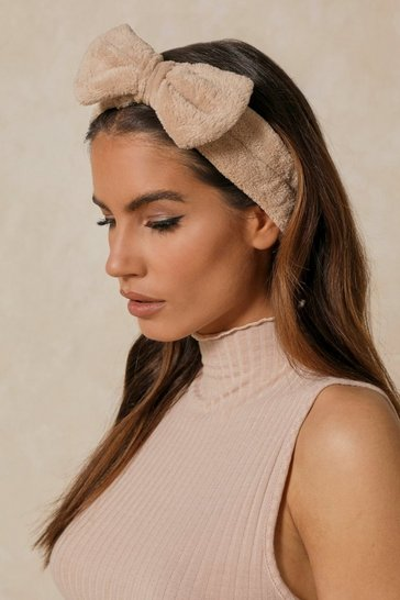 Nude Fluffy Bow Spa Facial Headband
